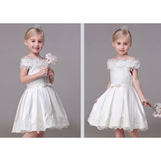 Flower girl formal dress white colour 90-140cm