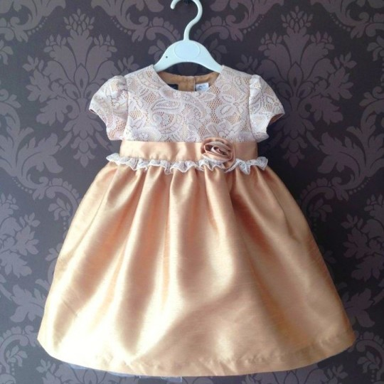 Baby Flower Girl Shantung Formal Dress Pink or Champagne