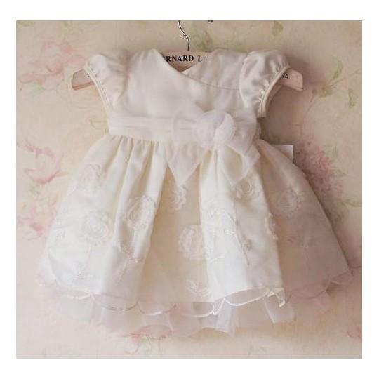 Robe blanche de cérémonie et demoiselle d'honneur petite fille 6-24 mois