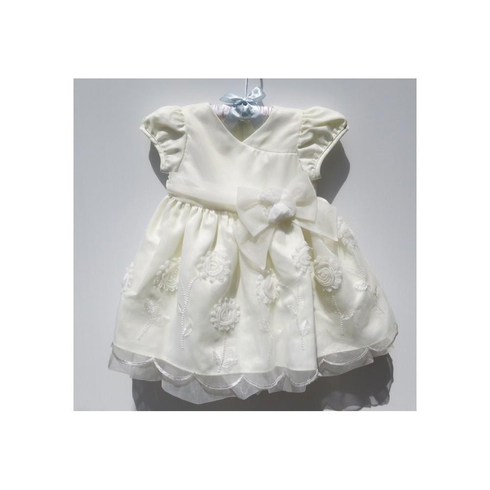 f28759e198125 ... Robe blanche de cérémonie et demoiselle d honneur petite fille 6-24 mois  ...