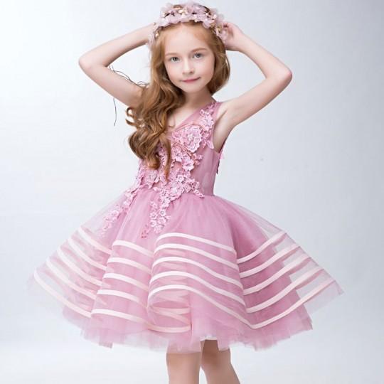Robe rose de cérémonie fille-demoiselle d'honneur 110-150cm