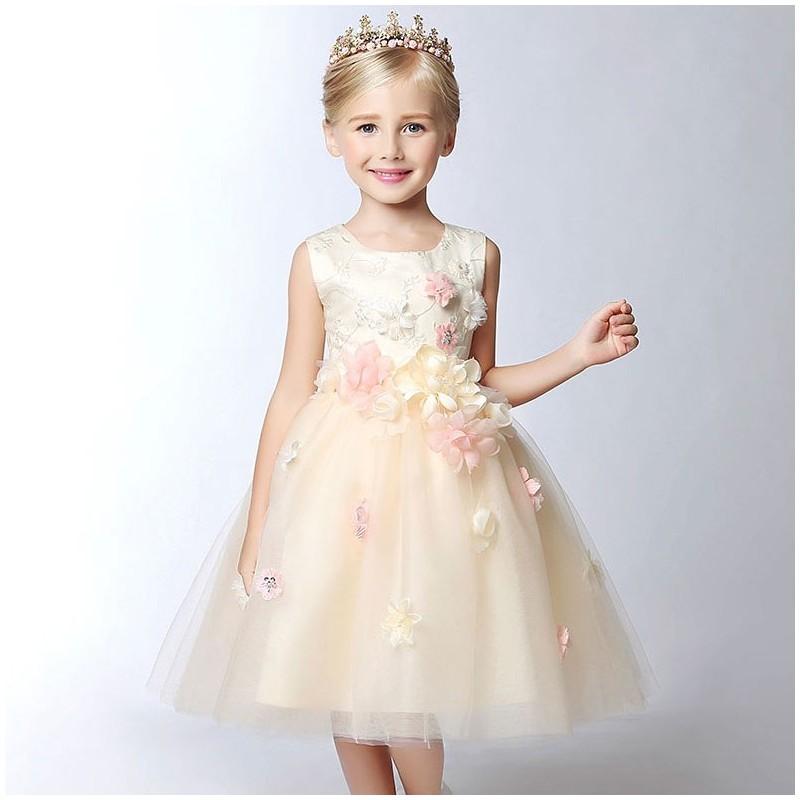 796c8a0ae3233 Robe couleur champagne de cérémonie fille-demoiselle d honneur 80-140cm