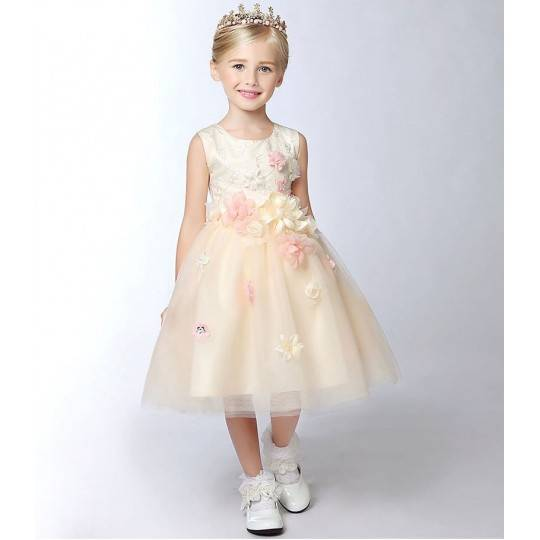 Flower girl champagne-colour formal dress 100-150 cm