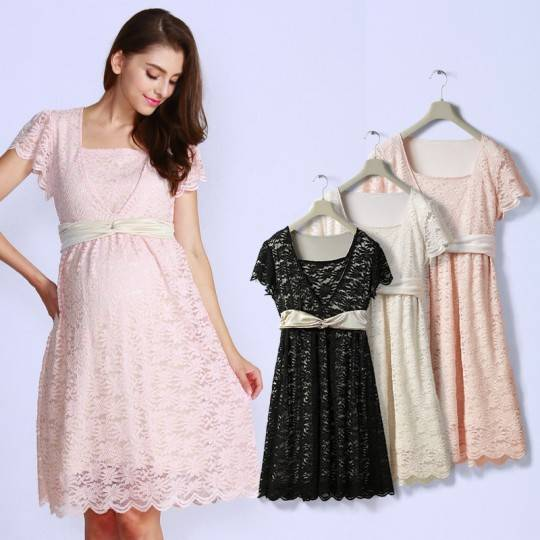Maternity and nursing ceremony dress made in stretch lace