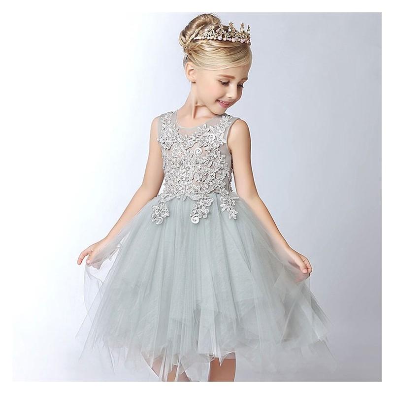58e5f05b0f415 Robe couleur gris perle de cérémonie pour petites filles - PartyLook