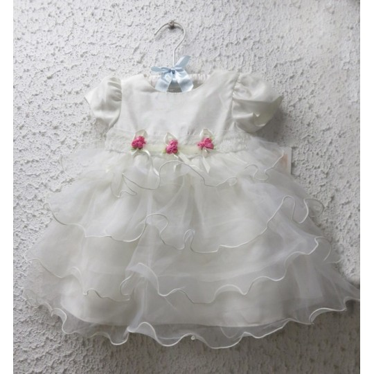 Baby girl white formal dress 3-24M