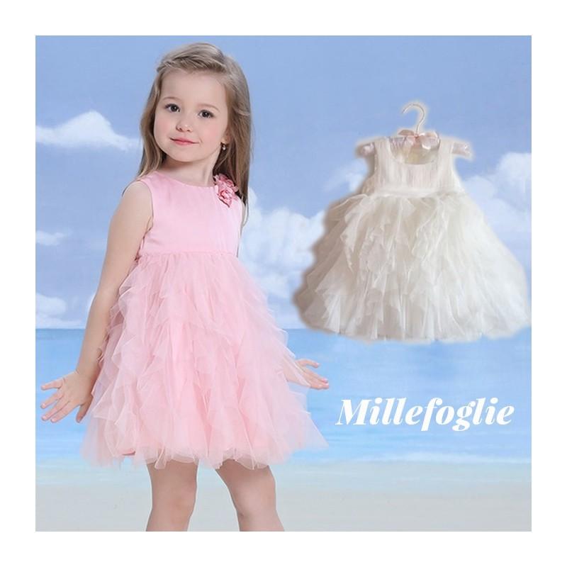 91d730388b4c Vestito Cerimonia Damigella Bambina Bianco Rosa 9M - 6 anni