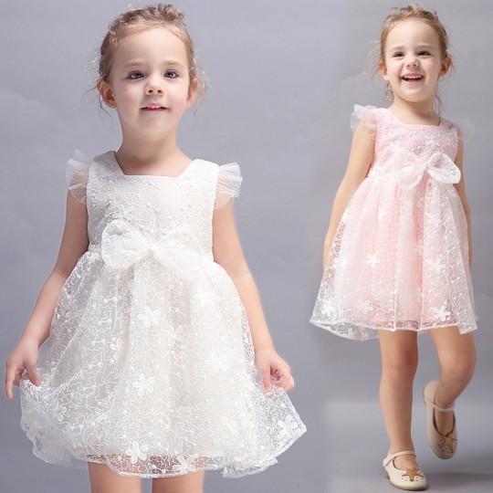 Robe blanche/rose de cérémonie fille-demoiselle d'honneur 100-130cm