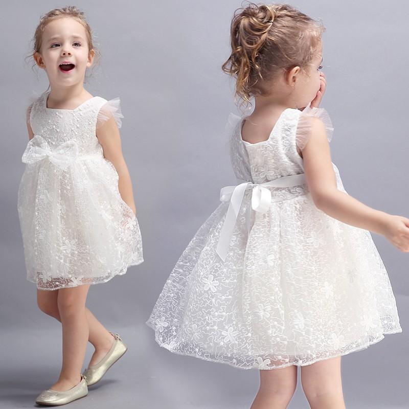 Flower girl white/pink formal dress 100-150 cm