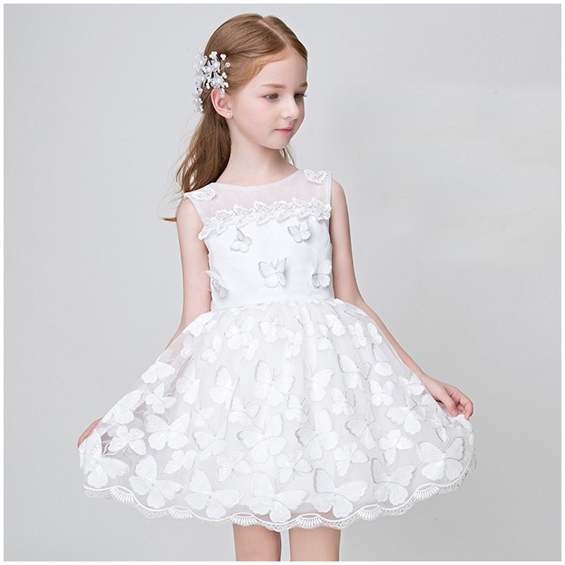Flower girl formal dress white colour with butterflies 90-150cm