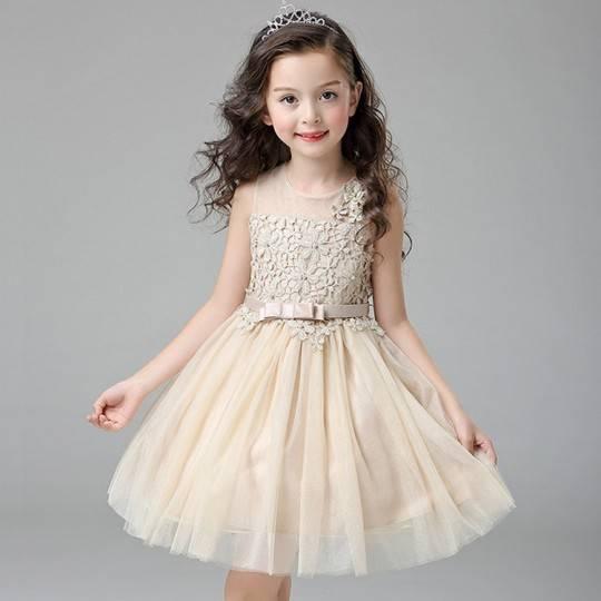 Flower girl formal dress gold colour 110-150cm