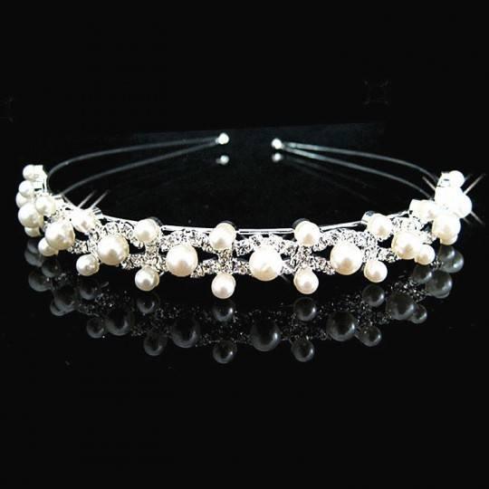 Cerchietto bimba con perline per cerimonia