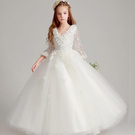 Robe longue blanche de cérémonie fille-demoiselle d'honneur à manches longues 80-160cm