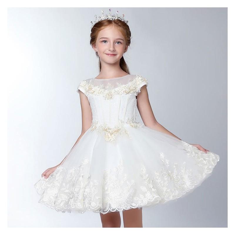 4a77eb161325d Robe blanche de Cérémonie Fille Demoiselle d honneur - PartyLook