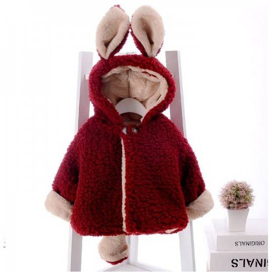 Double face baby coat with ears and tail