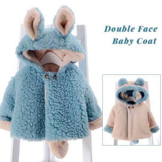 Double face baby coat with ears and tail Red/Off white