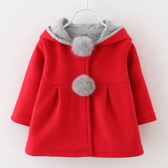 Red baby hooded christmas coat