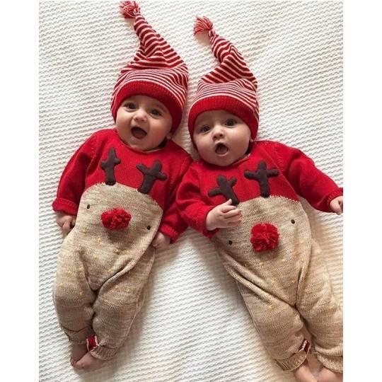 Tutina natalizia bimbo in cotone 66 - 80cm