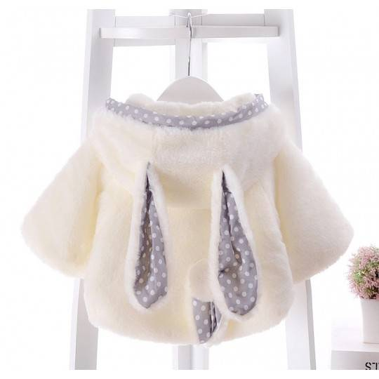 White baby coat with polka dot ears and tail