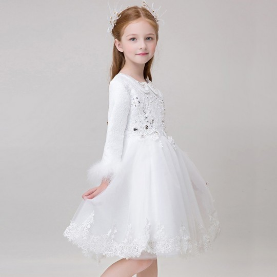 Flower girl ceremony formal dress white 90-150cm