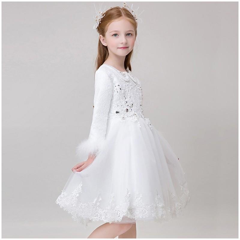 Flower girl ceremony formal dress white 90-150cm