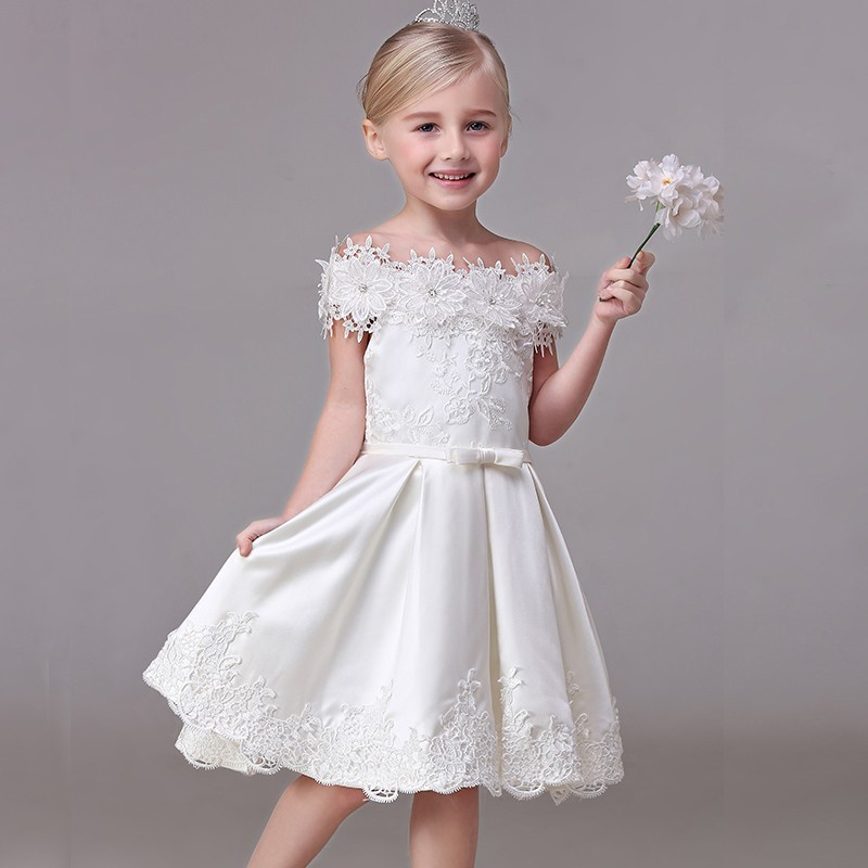 Flower girl formal dress white colour 90-140cm