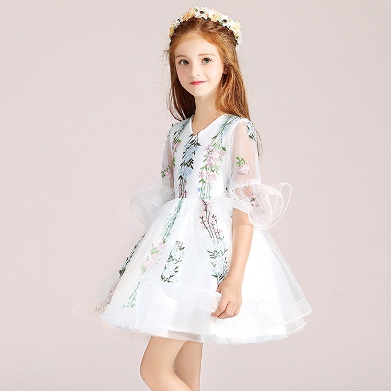 Flower girl ceremony formal dress white 100-150cm