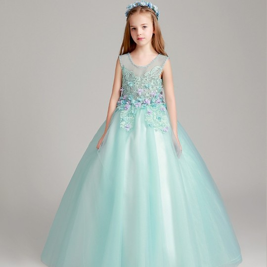 Flower girl long formal dress blue tiffany