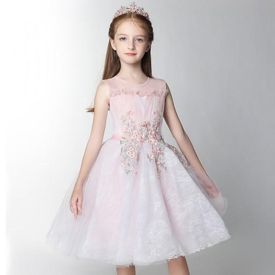 Robe blanche et rose de cérémonie fille demoiselle d'honneur 100-160cm