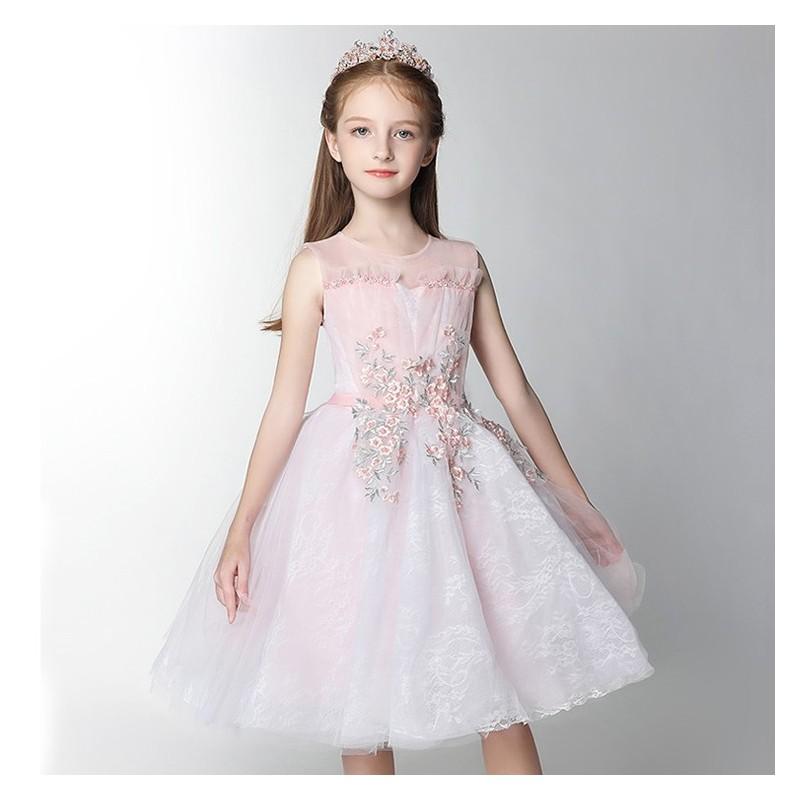 Flower girl ceremony formal dress white/pink 100-160cm