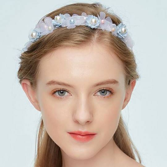 Adjustable light blue headband for ceremonies