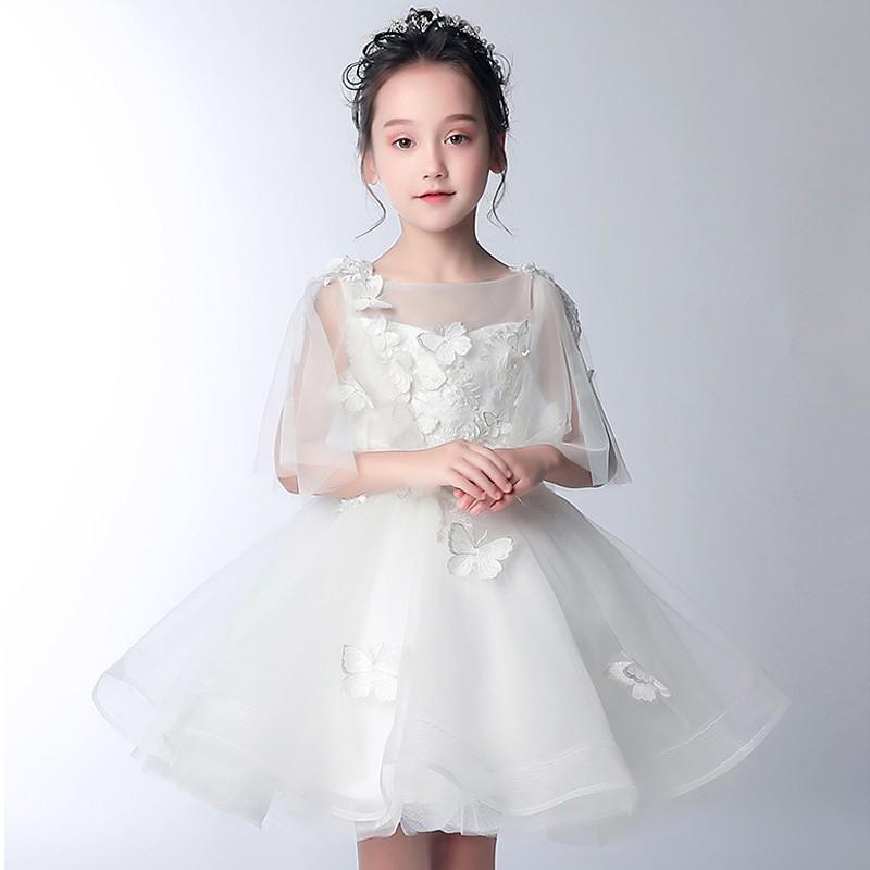 De Fille 34 100 Blanc Demoiselle Robe D'honneur Manches 150cm Cérémonie 8nNOkwX0PZ