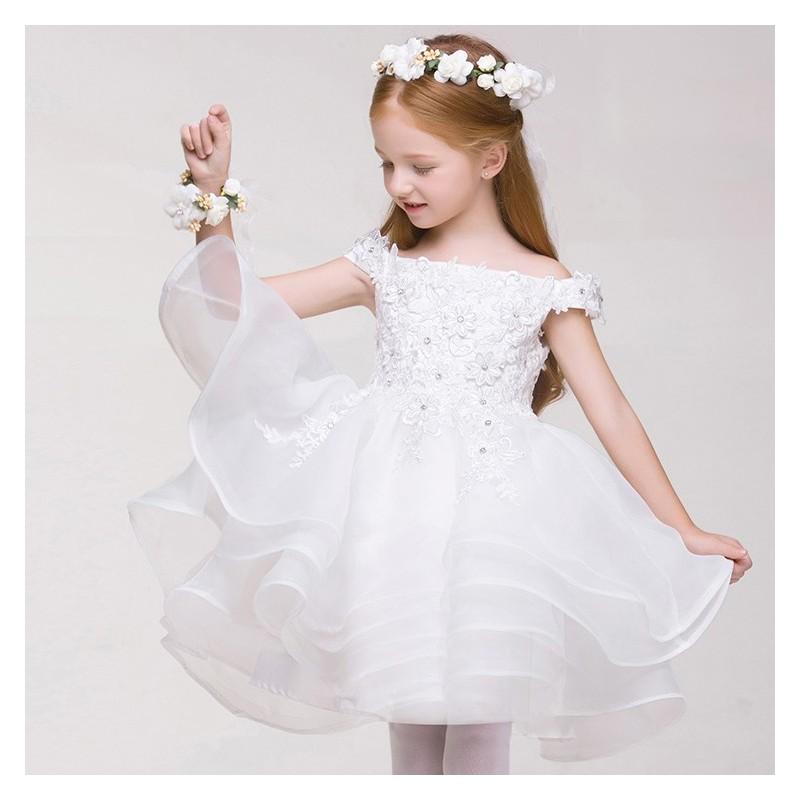 In liquidazione acquisto economico nuovo stile Abitino cerimonia bimba damigella bianco 80-150cm