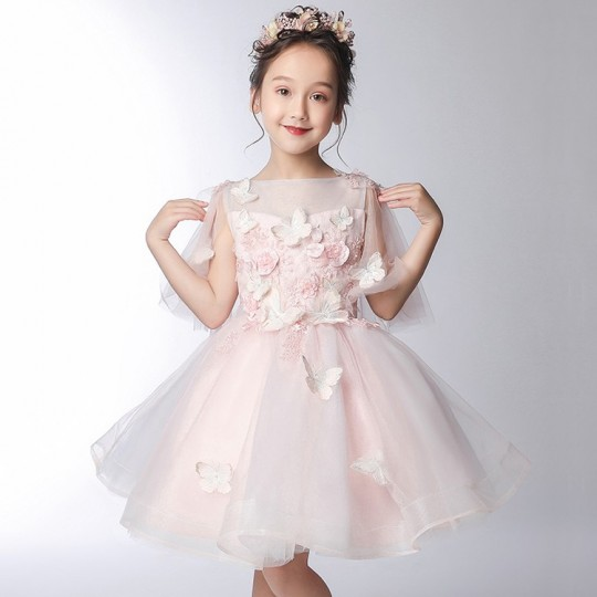 Flower girl formal dress 3/4 sleeves pink 100-150 cm