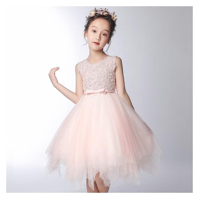 c43889dad89fb Robe rose de cérémonie demoiselle d honneur 100-160cm - PartyLook