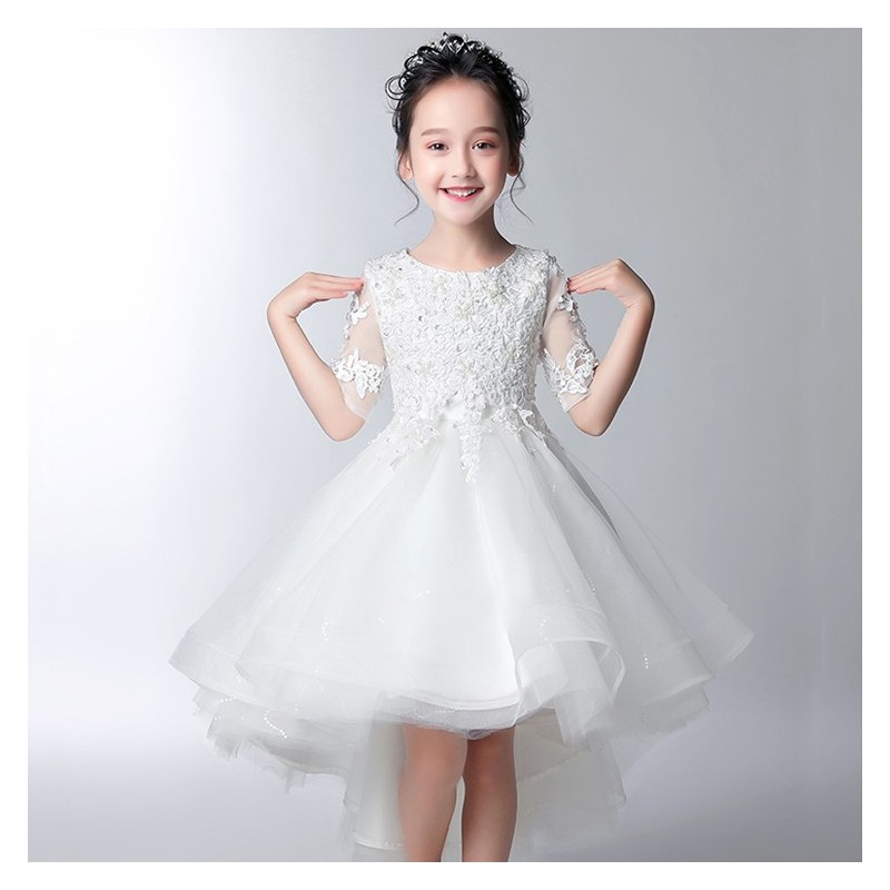 5142ddc2a Flower girl formal dress white pink colour 100-160cm - PartyLook