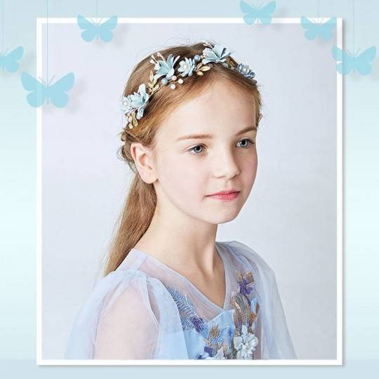 Decorated light blue little girl headband for ceremonies