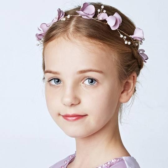 Serre-tête lavande décoré de cérémonie pour petite fille