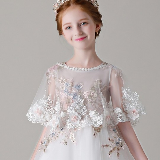 Little girl formal embroidered shawl