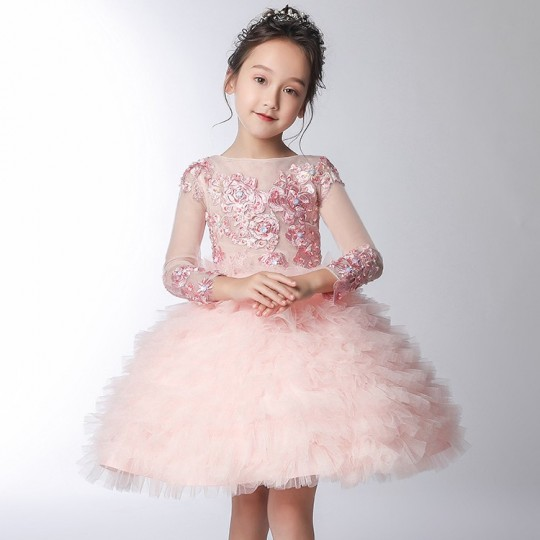 Flower girl pink formal dress 100-160cm