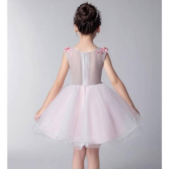 Flower girl pink formal dress 100-160 cm