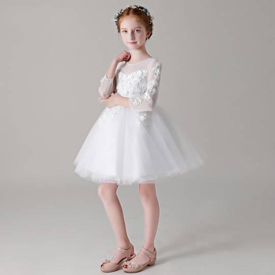 Abito cerimonia bimba damigella bianco a maniche lunghe 100-150cm