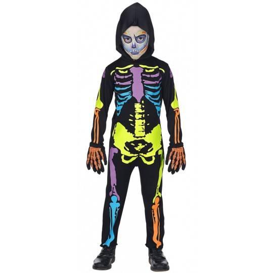 Costume scheletro colorato 5-13 anni