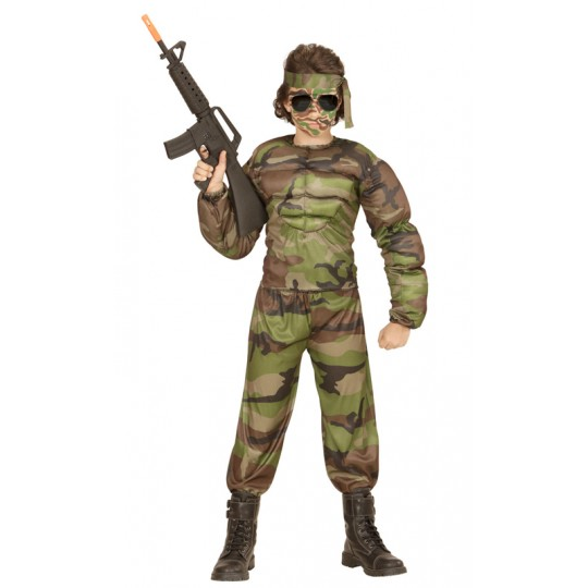 Super muscular soldier costume 5-13 years