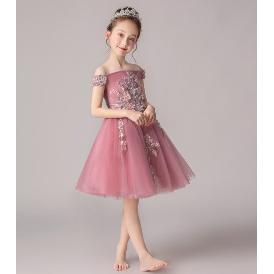 Flower girl ceremony formal dress pink 100-160cm