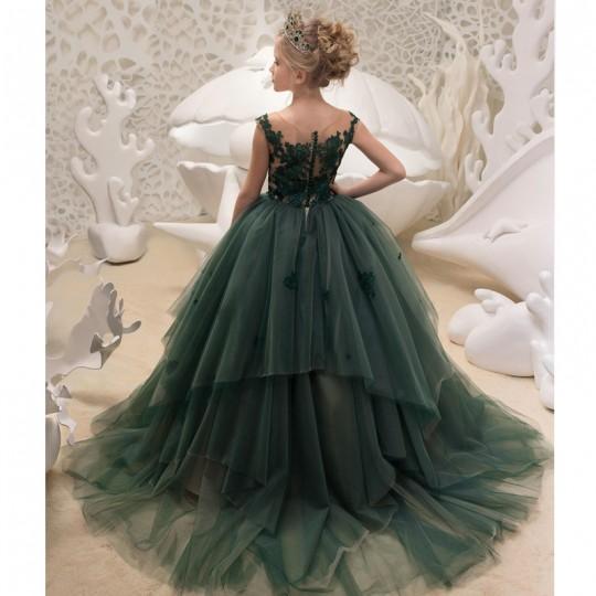 Flower girl formal dress dark green 110-160cm