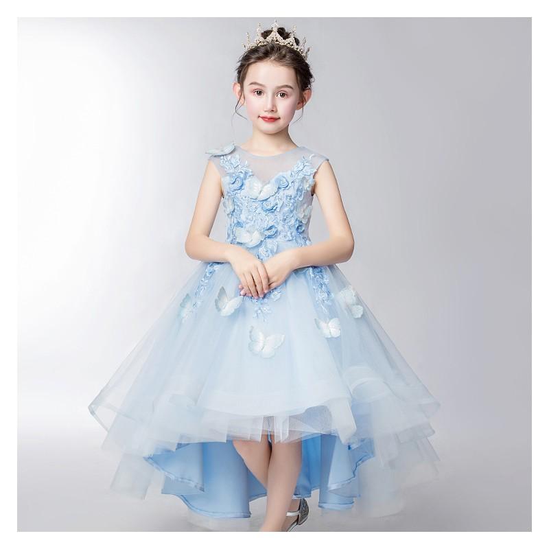 Flower girl ceremony formal dress light blue 110-160cm