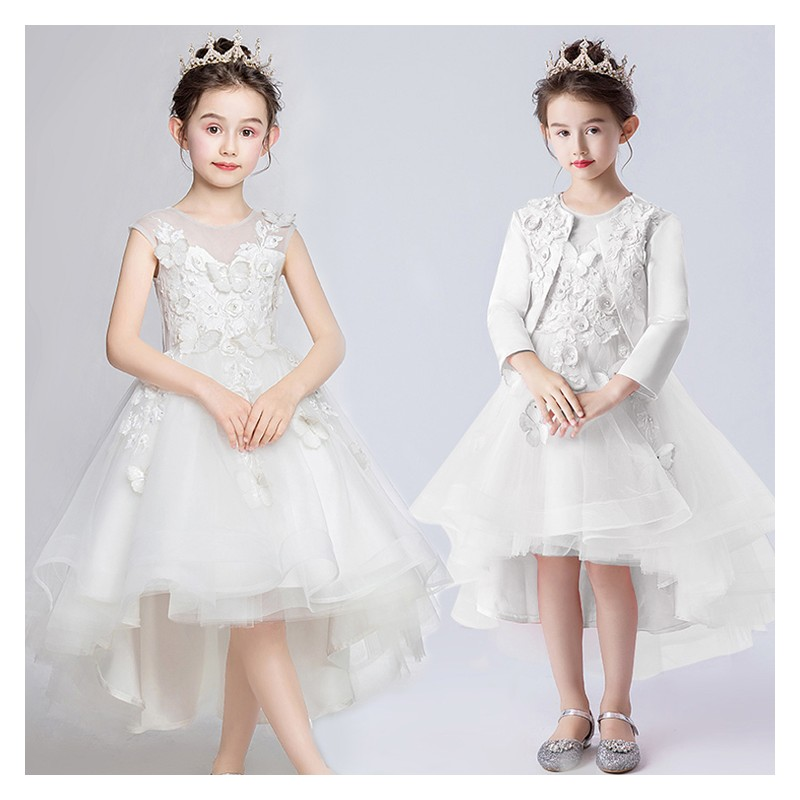 Flower girl ceremony formal dress white 110-160cm