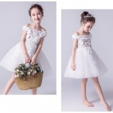 Flower girl ceremony formal dress white 100-160cm