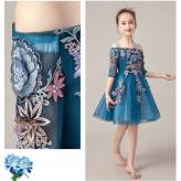 Flower girl ceremony formal dress blue 100-160cm